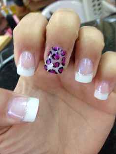French tip with purple leopard nail.