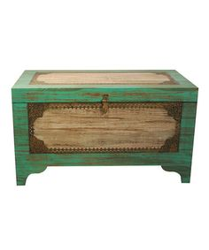 Take a look at this Green & White Storage Trunk by Modelli Creations on #zulily today!