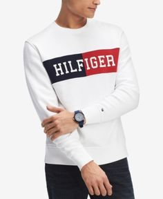 Tommy Hilfiger Womens Centered Logo Cotton Rib Knit Creweck Sweater