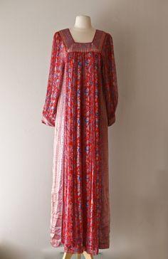 Vintage 1970's Raksha Silk Kaftan ~ Vintage 70s Raksha Of Hindimp London Silk Caftan From Neiman Marcus by xtabayvintage on Etsy