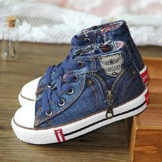 New Arrival Children Shoes Denim Jeans Zipper Sneakers Boys and Girls  Casual Kid Shoes d6f28513e