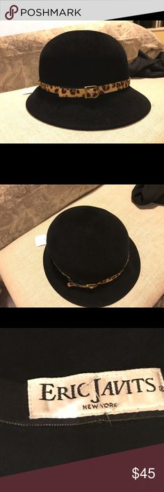 Eric Javits Black Wool Hat In good condition, Wool Eric Javits hat, leopard calf hair leather embellishment. Eric Javits Accessories Hats