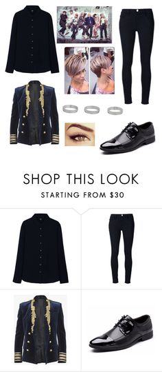 """""""BTS blood sweat and tears MV inspired outfit 2"""" by raventriple6 ❤ liked on Polyvore featuring Uniqlo, Frame Denim, Balmain and Miss Selfridge"""