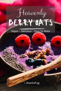 Heavenly Berry Oats - Vegan breakfast idea that's full of vegan nutrition, yet really delicious! Fantastic meal as part of a vegan weight loss plan. Add this to your favorite yummy vegan recipes! Vegan Lunches, Vegan Foods, Vegan Breakfast Recipes, Delicious Vegan Recipes, Brunch Recipes, Breakfast Ideas, Dairy Free Recipes, Whole Food Recipes, Diet Recipes