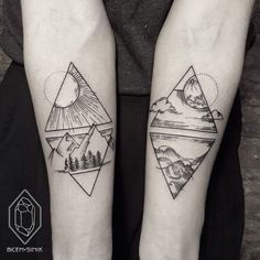 Sun and mountains, moon and Sea. Tattoo by Bicem Sinik…