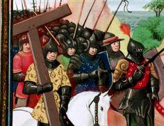 [Montgisard]. Au premier rang des chrétiens, l'évêque Albert de Bethléem élevait au-dessus de sa tête la Vraie Croix, qui si souvent déjà avait conduit les Francs à la victoire.