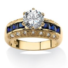 Palm Beach Jewelry 3.53 TCW Round Cubic Zirconia and Simulated Blue Sapphire Ring in 14k Gold Over Sterling S (9), Yellow
