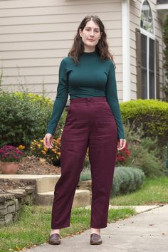 Deer&Doe: My Acajou Pants – Attack of the seam ripper Deer And Doe Patterns, High Neck Shirts, I Give Up, Fabric Covered Button, Red Pants, Pants Pattern, Flare Skirt, Workout Pants, Sportswear