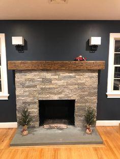 Farmhouse Fireplace Mantels, Brick Fireplace Makeover, Home Fireplace, Fireplace Remodel, Fireplace Surrounds, Fireplace Design, Rustic Mantle, Fireplace Stone, Fireplace Ideas