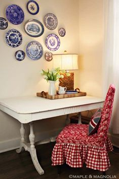Cottage Desk with Plate Wall