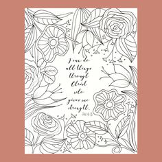 Philippians 4:13 Coloring Page, Bible Verse Coloring Page, Christian Coloring Page, Scripture Coloring Page, by FourthAvePenandInk on Etsy