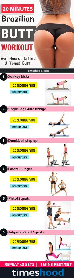 Best Exercises to Get a Firm, Round, Lifted Butt. Try this 20 Minutes Brazilian Butt Workout Get Round, Lifted and Toned Butt. Best butt exercise for women – Bigger butt workout plan. Month Workout, Workout Challenge, Workout Plans, Fitness Herausforderungen, Fitness Motivation, Fitness Expert, Workout Motivation Girl, Fitness Foods, Fitness Tips For Women