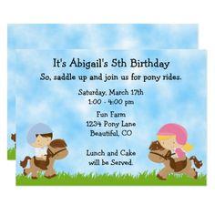 Cute Pony Party Girls ~ Boys Horse Birthday Invite