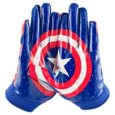 Under Armour Youth Alter Ego Captain America Football Receiver Gloves - Captain America gloves! Football Receiver Gloves, Football Gear, Youth Football, Football Gloves, Football Outfits, Football Stuff, Sport Football, Marvel And Dc Superheroes, Batting Gloves