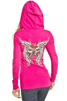 Platinum Plush Gun & Flower Hoodie in Hot Pink - Beyond the Rack