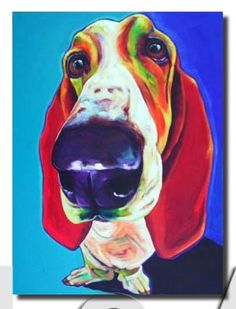 Dog painting, Bassett hound