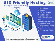 #SEO-Friendly Hosting in 2021: 6 Things to Look for in a #Hosting #Company 1. High Uptime #Guarantee 2. #Server #Location 3. #Multiple Options -Automatic backups -SSL -Multiple hosting plans 4. Good Reviews 5. Responsive Support Team 6. Easy-to-Use CMS . . WhatsApp or Call: +91.999.039.2924   USA +1.616.366.8280 Email: - info@mindmingles.com #Like #Follow #Love #SEO #SMO #Instagram #Youtube #Facebook #Twitter #LinkedIn #Marketing #MindMingles #Branding #India #Delhi #DigitalMarketing Best Digital Marketing Company, Hosting Company, S Mo, Design Development, Improve Yourself, Web Design, Branding, India, How To Plan