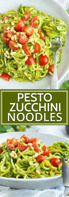 Learn how to makeZucchini Noodles with Pestofor a simple healthy low-carb dairy-free vegan and keto dinner recipe that you can throw together for a healthy workday lunch or busy weeknight! A vegan pesto recipe is combined with zucchini sq Dairy Free Pesto, Vegan Pesto, Keto Pesto Recipe, Diet Dinner Recipes, Keto Dinner, Dinner Healthy, Diet Menu, Zuchinni Recipes, Vegan Recipes