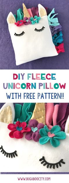 Create a DIY Fleece Unicorn Pillow with this easy to follow tutorial and free pattern! This pillow has a colorful fleece mane, gold horn and fleece flowers! #PillowsDIY
