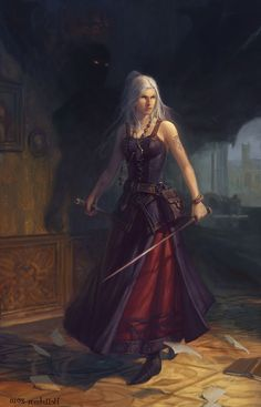 Female fighter / sword fighter with foil and stake shadow / ghost / spirit with red eys in background DnD / Pathfinder character inspiration Warrior Girl, Fantasy Warrior, Fantasy Rpg, Fantasy Artwork, Dark Fantasy, Dnd Characters, Fantasy Characters, Female Characters, Fantasy Women