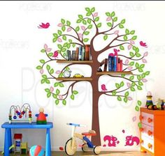 Vinyl Wall Decal kids shelving tree with birds decal Squirrels kid bird leaf leaves trees decals baby room sticker house Home Murals stikers