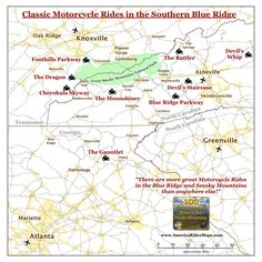 Map of Classic Motorcycle Rides in the Smoky Mountains