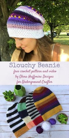 Crochet Beanie Design Crochet Pattern: Slouchy Beanie by Olena Huffmire Designs (with video!) - Free crochet pattern: Slouchy Beanie with video by Olena Huffmire Designs for Underground Crafter Crochet Beanie Pattern, Easy Crochet Patterns, Crochet Designs, Free Crochet, Hat Patterns, Crochet Granny, Free Knitting, Knitting Patterns, Loom Knitting