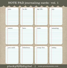 Sm. NOTE PAD Journaling Cards for Scrapbooking or Project Life. $4.50, via Etsy.