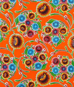Orange Bloom Oilcloth Fabric
