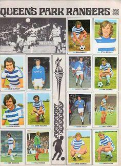 QPR team stickers in 1976-77.