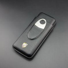 BLack Leather 3 Finger Travel Cigar Case Holder Tube Adjustable /w Cutter #p217