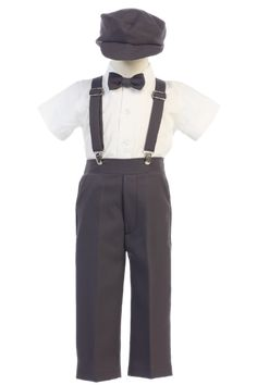 Lito Baby Boys Charcoal Suspender Pants Hat Outfit Set A dapper suspender set from Lito. Charcoal pants with suspenders. Bowtie and a hat to match with the pants. Suit With Suspenders, Suspenders Outfit, Outfits With Hats, Boy Outfits, Roman Outfits, Suspender Pants, Boys Suits, Easter Outfit, Pant Shirt