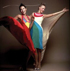 Models wearing dresses by Stephen Burrows in 1973. From Stephen Burrows: When Fashion Danced. Photograph by Charles Tracy.