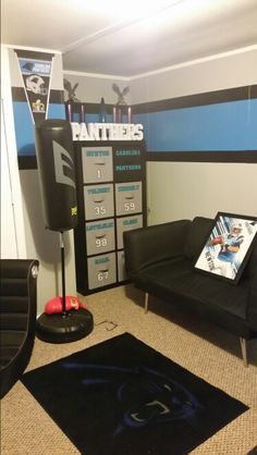 Football Rooms, Boy Bedrooms, Kids Bedroom, Bedroom Ideas, Theatre Rooms,  Theater, Painted Stripes, Carolina Panthers, Game Rooms
