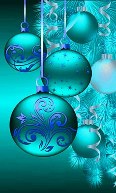 Kind of a turquoise / aqua Wallpaper with baubles . By Artist Unknown. Christmas Scenes, Noel Christmas, Christmas Pictures, Christmas Greetings, Christmas Tree Ornaments, Vintage Christmas, Christmas Decorations, Christmas Phone Wallpaper, Holiday Wallpaper