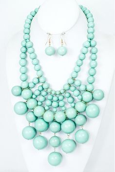 Mint Bubble Necklace from elle & k boutique $28 with FREE SHIPPING