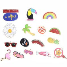 16pcs Cute metal pin holiday brooches collar pins bag clothes shoes accessories