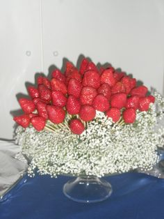 strawberries between flowers