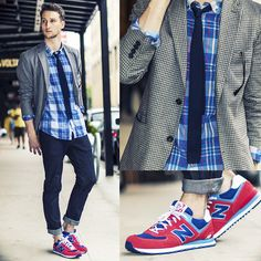 Marc By Marc Jacobs Blazer, Marc By Marc Jacobs Shirt, H Knit Tie, New Balance Sneakers, H Raw Denim Jeans