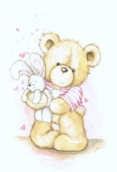 Urso Bear, Baby Painting, Birthday Blessings, Sweet Pic, Bear Cartoon, Tatty Teddy, Cute Teddy Bears, Cute Animal Drawings, Digi Stamps