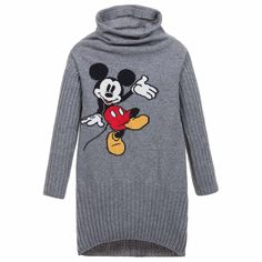 Older girls, grey softly knitted jumper dress by<span>Monnalisa Jakioo. Made from a wool blend, it has a cowl neck with ribbed sleeves and a cute Mickey Mouse image on the front. In a straight, slim fit, it can also be worn as a long top with leggings.<br /></span> <ul> <li>45% wool, 5% cashmere, 50% other (soft, knitted feel)</li> <li>Hand wash</li> <li>Straight, slim fit</li> <li>Made in Italy</li> </ul>