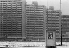 """casadabiqueira: """"East Germany, Halle-Neustadt, Saxony-Anhalt Modern concrete-slab buildings and a picture of General Secretary of the Socialist Unity Party Erich Honecker. East Germany, Berlin Germany, Ddr Brd, Saxony Anhalt, Berlin Apartment, Ddr Museum, Cities In Europe, Berlin Wall, Brutalist"""