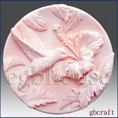 2D Silicone Soap Mold - Hummingbird in Hibiscus Garden - Free Shipping  $28