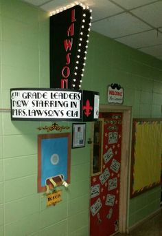 Hollywood themed marquee for my classroom door. Designed, built, and installed by my husband.