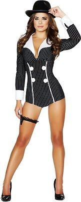 Sexy Mobster Mafia Gangster Babe Romper Hot Halloween Costume Outfit Adult Women