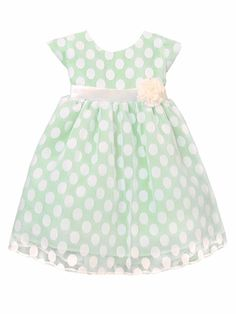 Apple Green Polka Dot Mesh Dress Style: Cap sleeve bodice Irremovable sash Removable flower at waist Crinoline layer & lining within Zipper closure w/ tie back sash Tea length Sweet Kids Made in the USA Toddler Flower Girl Dresses, Ivory Flower Girl Dresses, Girls Dresses, Summer Dresses, Turquoise Flower Girl Dress, Church Outfits, Church Clothes, Easter Dress, Cute Outfits For Kids