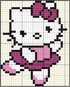 Kawaii Cross Stitch, Cross Stitch Baby, Cross Stitch Charts, Cross Stitch Designs, Cross Stitch Patterns, Knitting Charts, Baby Knitting Patterns, Crochet Patterns, Crochet Hello Kitty