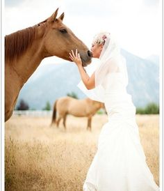 I am getting married 3 hours away from my horse - But I have hired the photographers for another day after the weeding to get photo's with my horse in my wedding dress! :) Wouldn't miss it for the world!