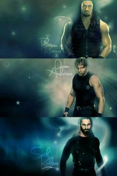 The Shield: Roman Reigns (U), Dean Ambrose (M) and Seth Rollins (L)