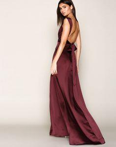 644afd27efb4a6 Bow Back Satin Gown - Nly Eve - Burgundy - Feestjurken - Kleding - Vrouw -